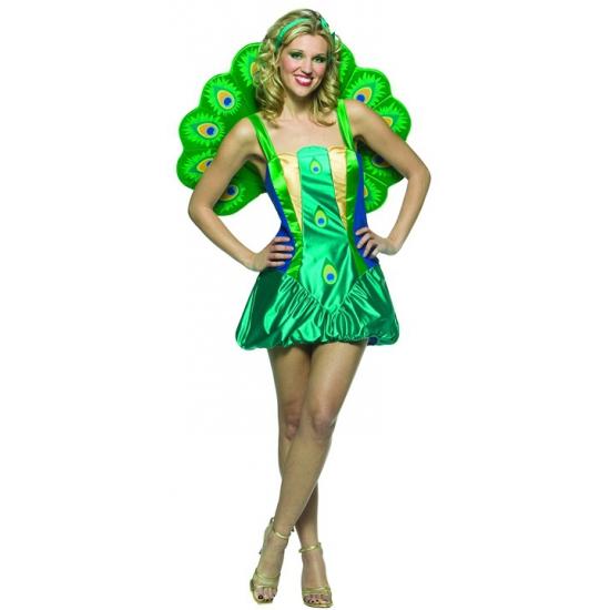 Pauwen jurkje voor dames. dit originele pauwen kostuum bestaat uit een jurkje met een groengekleurde staart. ...