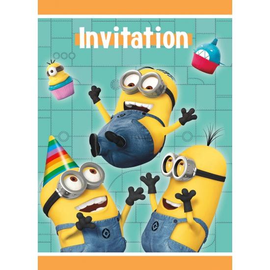 Despicable me uitnodigingen. deze kartonnen feest uitnodigingen met de plaatjes uit de bekende film ...