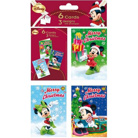Disney minnie mouse kerstkaarten 6 stuks. setje van 6 kerstkaarten met vrolijke plaatjes van minnie in ...