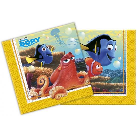 Finding dory servetten 20 stuks. deze papieren servetten met plaatjes van finding dory hebben e...