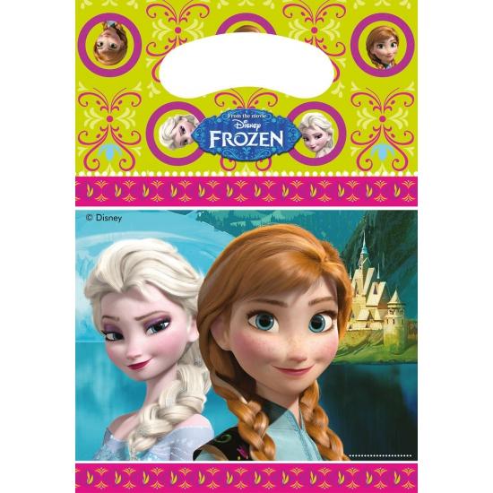 Frozen thema feestzakjes 6 stuks. deze plastic feestzakjes met plaatjes van frozen zijn verpakt per 6 stuks ...