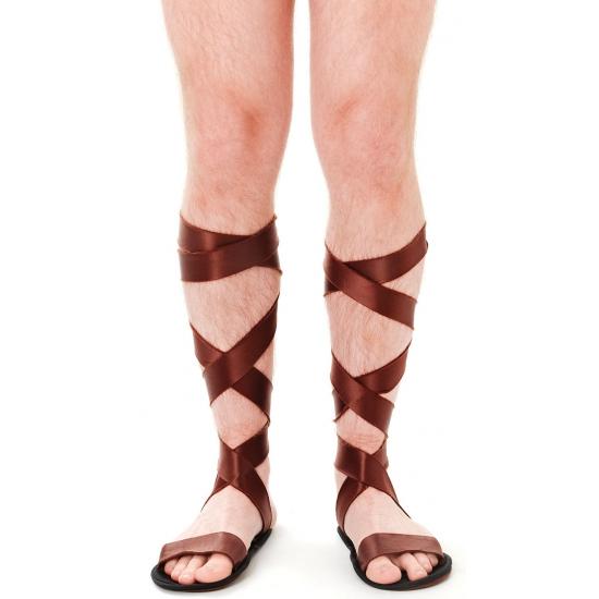 Griekse bruine sandalen voor volwassenen. sandalen gemaakt van een zachte stof. perfect om uw griekse of ...