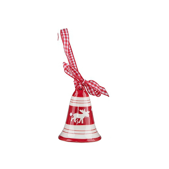 Kerstbellen hanger rendier. stenen kerstbel in het rood met wit met lint om deze op te hangen in de kerstboom....