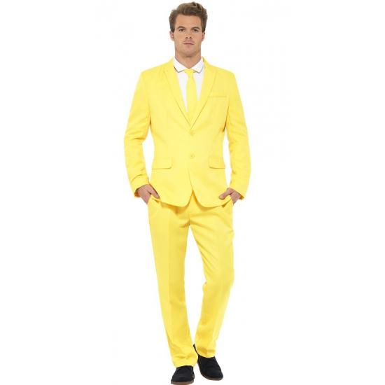 Heren kostuum geel. dit 3 delig heren kostuum met colbert, broek en stropdas is geheel in de kleur geel....