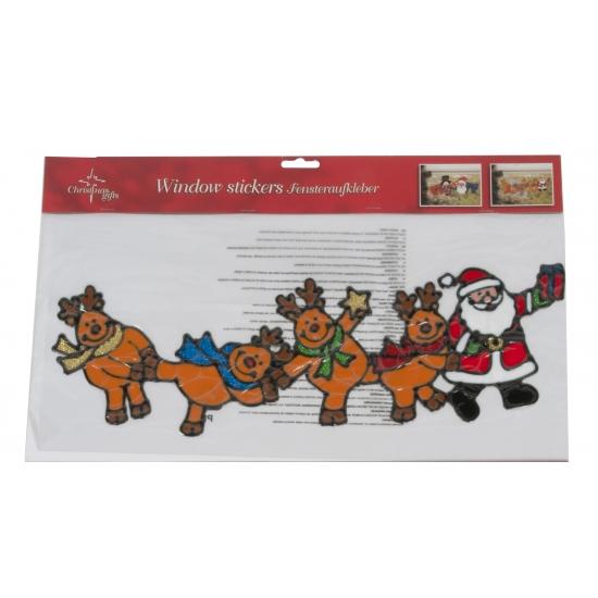 Kerst raamstickers rendieren. een leuke raamsticker van de kerstman met zijn rendieren. de sticker is circa ...