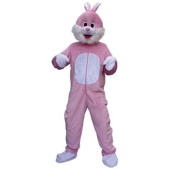 Roze konijnen kostuum voor volwassenen. dit konijnen kostuum bestaat uit twee delen. het hoofd en de jumpsuit ...