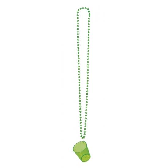 Ketting shotglas groen. een transparant groen shotglas aan een ketting. materiaal: plastic. inhoud: ongeveer ...
