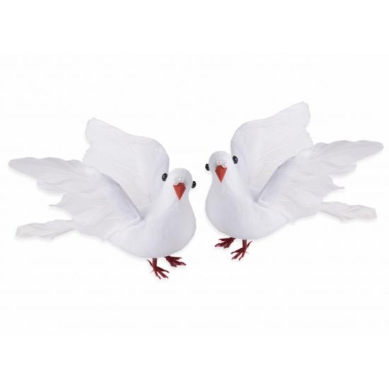Witte bruidstaart duiven 20 cm