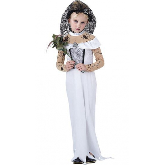 Zombie bruid kostuum voor meisjes. witte zombie bruidsjurk voor meisjes. het kostuum is inclusief jurk en ...