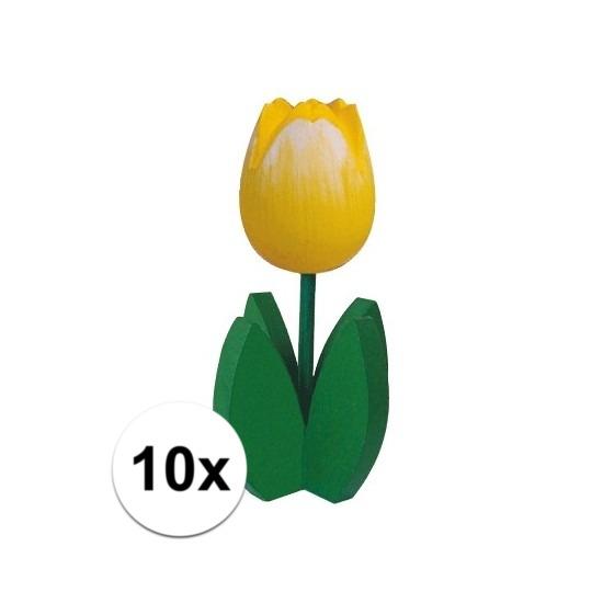 10x Bloemen decoratie tulp geel