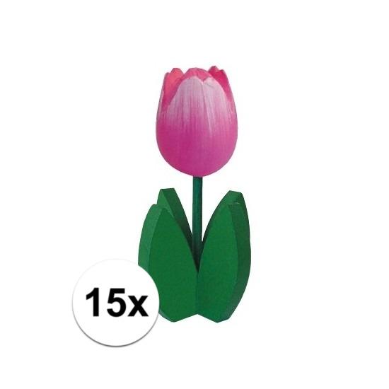 15x Bloemen decoratie tulp roze