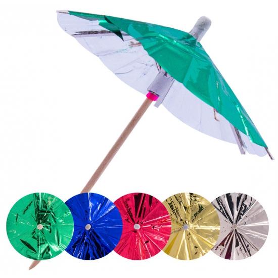15x Gekleurde parasols prikkers 10 cm