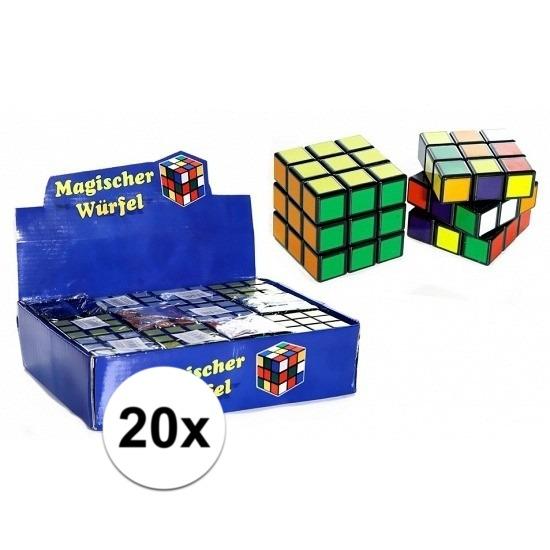 20x uitdeel speelgoed puzzel kubussen 7 cm
