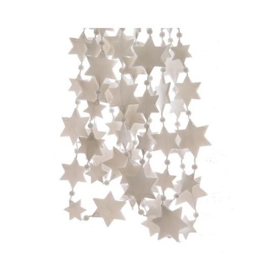 2x Kerst sterren kralen guirlandes winter wit 270 cm kerstboom versiering/decoratie