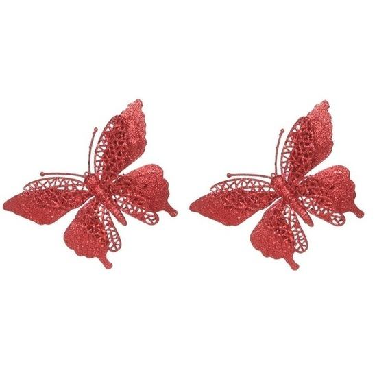 2x Kerstversieringen vlinder op clip glitter rood 15 cm