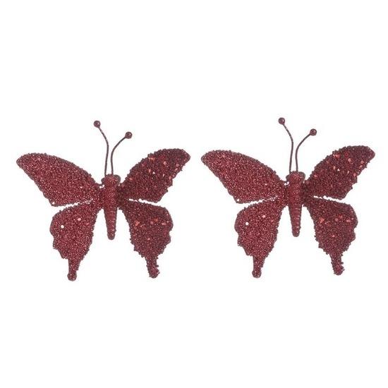 2x Kerstversieringen vlinder op clip kersen rood 18 cm