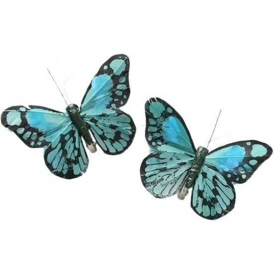 2x Kerstversieringen vlindertje mintgroen/blauw 9 x 11 cm op ijzerclip
