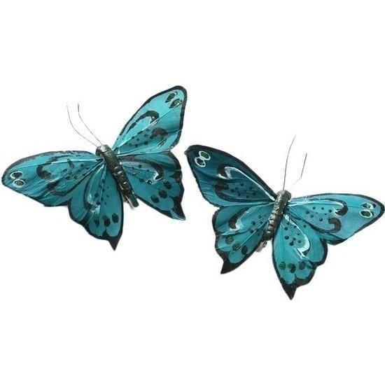 2x Kerstversieringen vlindertje turquoise blauw/zwart 9 x 11 cm op ijzerclip