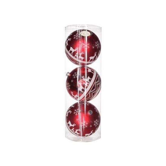 Deze extra grote onbreekbare rode kerstballen met kerstprint zijn gemaakt van kunststof en zitten per 3 ...