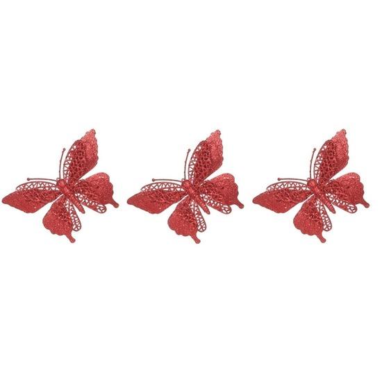 3x Kerstversieringen vlinder op clip glitter rood 15 cm