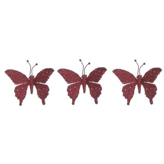 3x Kerstversieringen vlinder op clip kersen rood 18 cm
