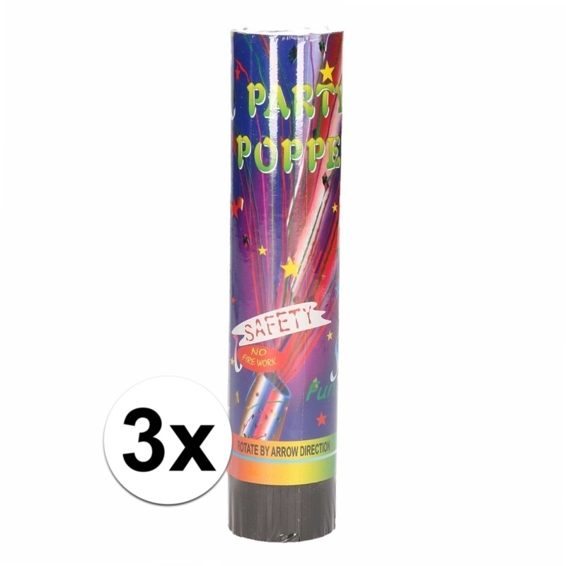 3x Voordelige party popper 20 cm