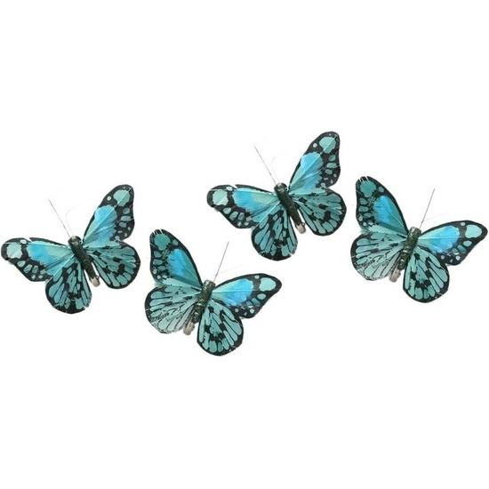 4x Kerstversieringen vlindertje mintgroen/blauw 9 x 11 cm op ijzerclip