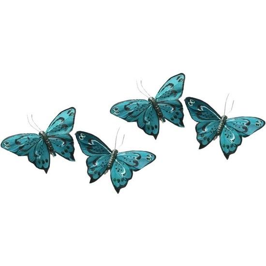 4x Kerstversieringen vlindertje turquoise blauw/zwart 9 x 11 cm op ijzerclip