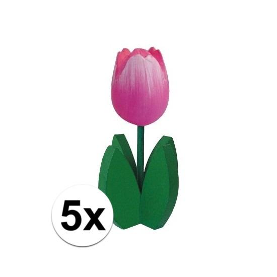 5x Bloemen decoratie tulp roze