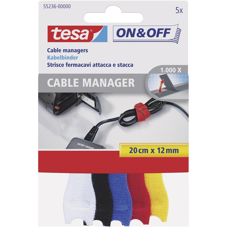 5x Tesa kabelklittenband 20 cm gekleurd