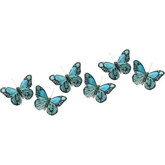 6x Kerstversieringen vlindertje mintgroen/blauw 9 x 11 cm op ijzerclip