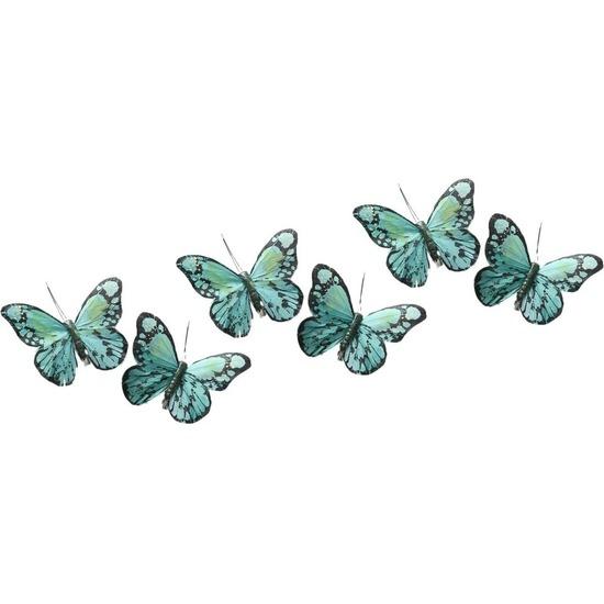 6x Kerstversieringen vlindertje mintgroen/groen 9 x 11 cm op ijzerclip