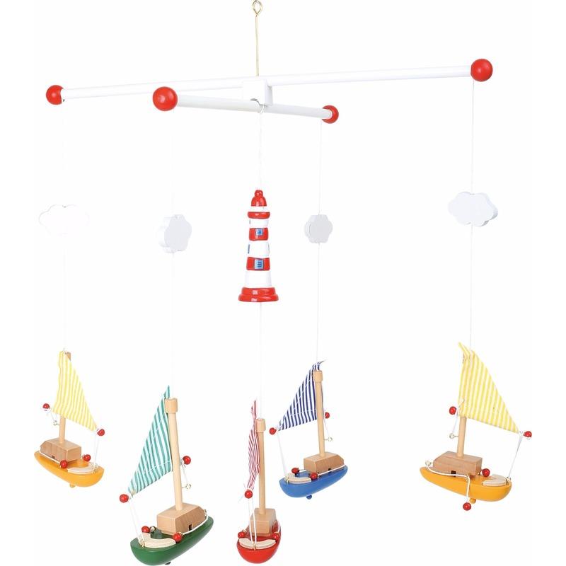 Speelgoed diversen Geen Baby decoratie mobiel met zeilboten 39 cm