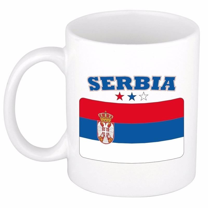 Shoppartners Beker mok met vlag van Servie 300 ml Landen versiering en vlaggen