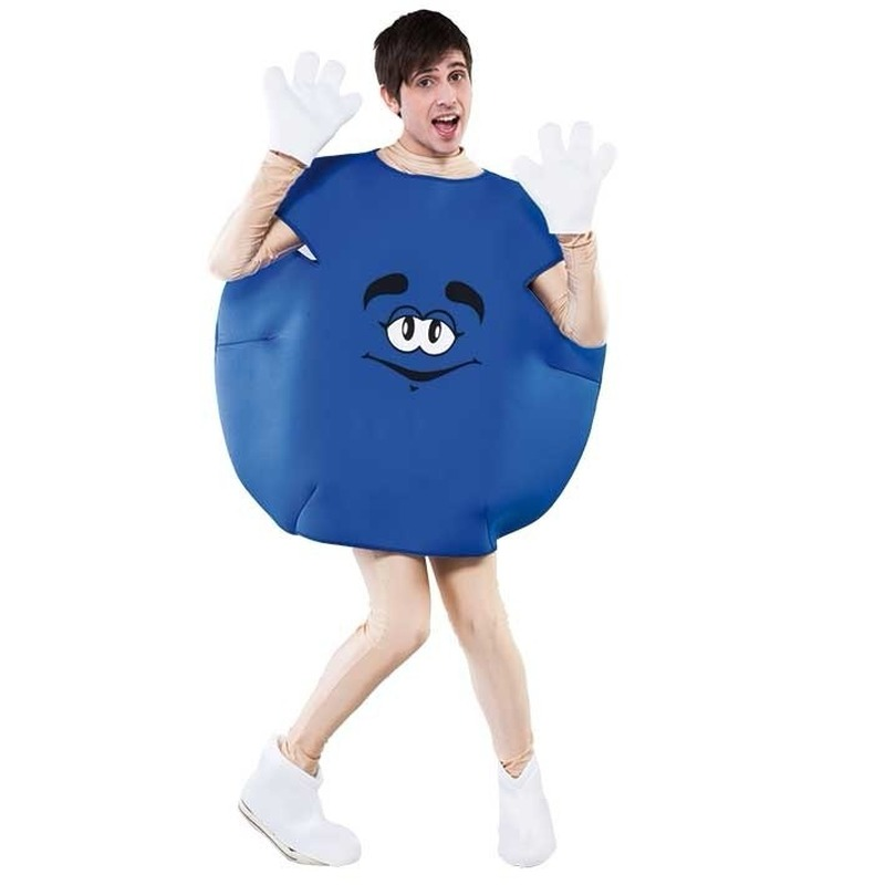 Blauw snoep pak voor volwassenen. dit blauwe snoep kostuum bestaat uit het blauwe snoep pak, handschoenen en ...