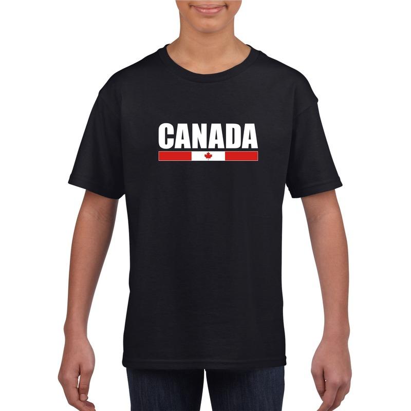 Landen versiering en vlaggen Canadese supporter t shirt zwart voor kinderen