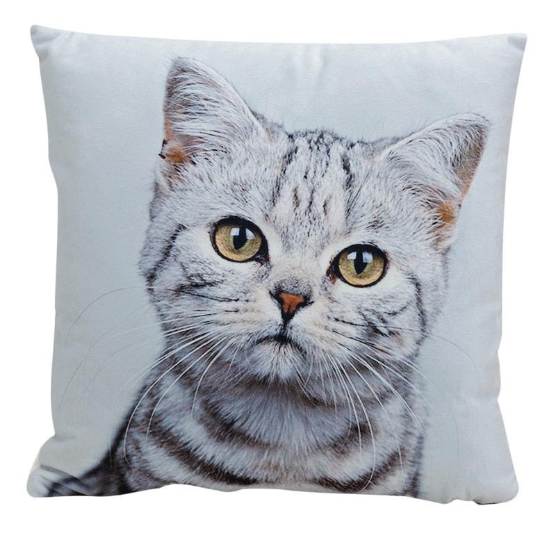 Decoratie kussens Tabby kitten poes kat 34 x 34 cm Geen gaafste producten