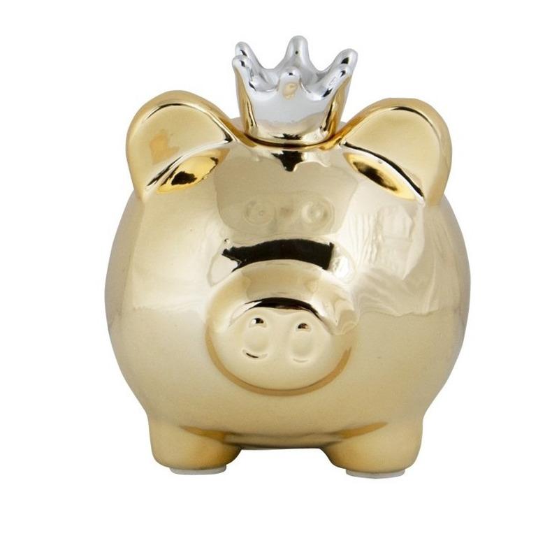Dieren spaarpot goud varken-big voor kinderen-volwassenen 12 cm