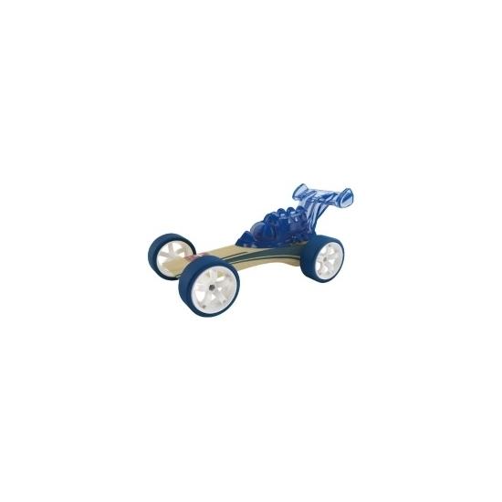 Donkerblauwe strandbuggy raceauto bamboe 8 cm