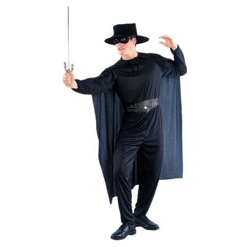 Dit zorro look a like kostuum bestaat uit een blouse, een broek, een riem, een masker, een cap e en een hoed ...