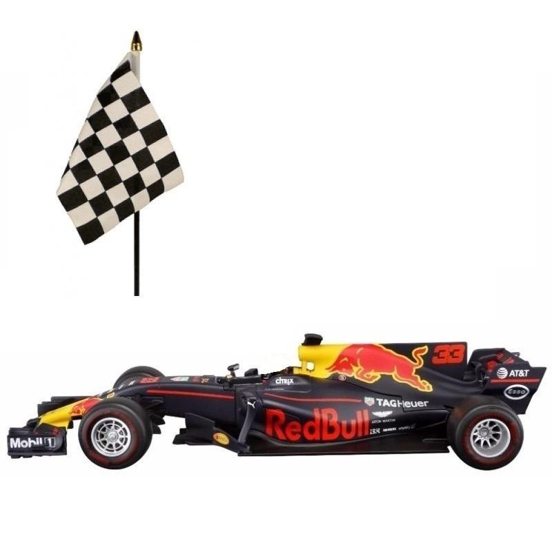 Speelgoedvoertuigen Formule 1 speelgoedwagen Max Verstappen 1 43 met finish zwaaivlaggetje