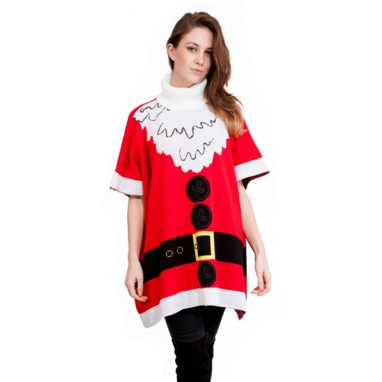 Foute kersttrui kerstman poncho