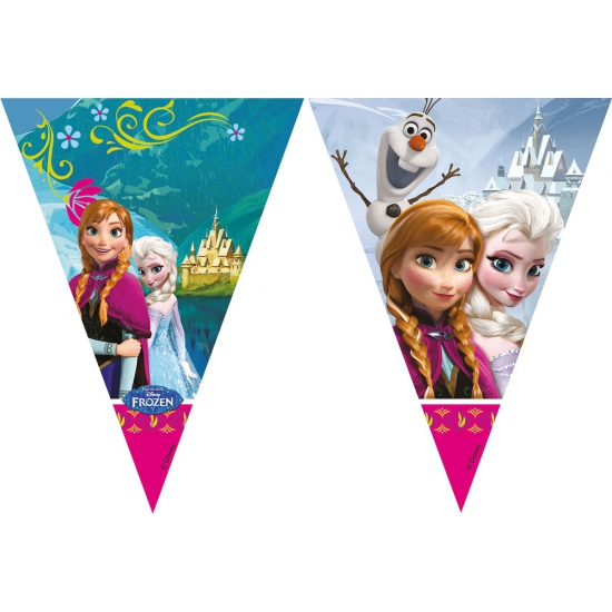 Frozen vlaggenlijn 2 meter. deze feestelijke plastic vlaggenlijn met plaatjes van frozen heeft een lengte van ...