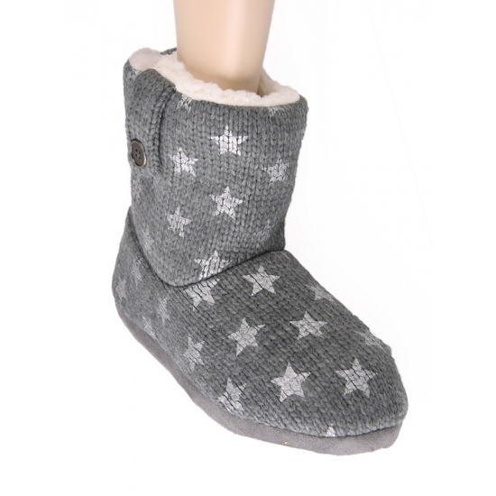 Gebreide grijze sterren sloffen voor dames Geen te koop
