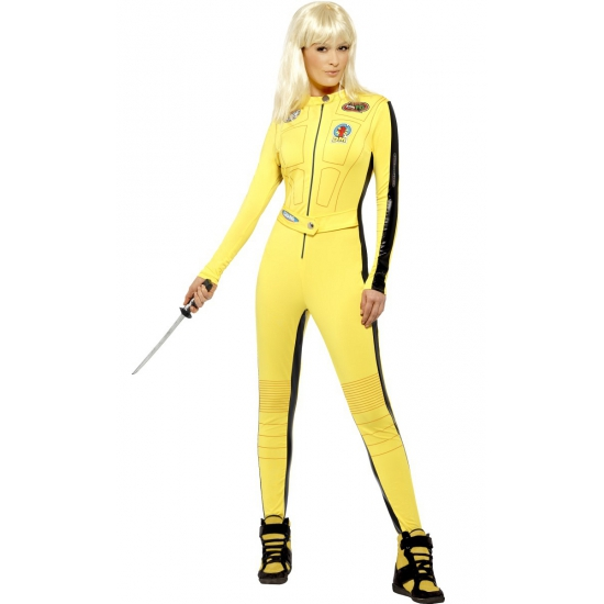 Kill bill kostuum. geel jumpsuit uit de bekende film kill bill. inclusief zwaard.