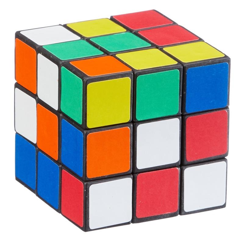 Gekleurde kubus puzzels breinbreker spelletje 6 cm