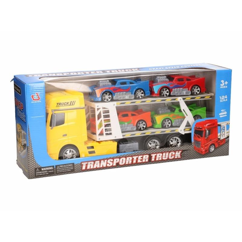 Speelgoedvoertuigen Geen Gele vrachtwagen 44 cm met vier autos