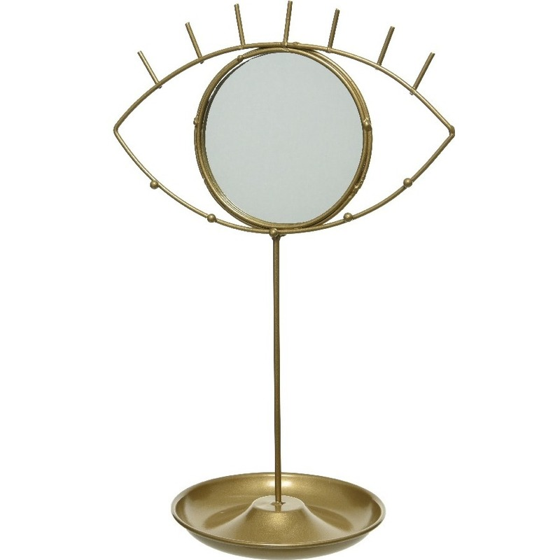 Gouden oog sieraden opbergrek 34 cm met spiegeltje Bohemian woonstijl
