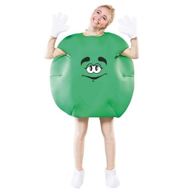Groen snoep pak voor volwassenen. dit groene snoep kostuum bestaat uit het groene pak, handschoenen en schoen ...