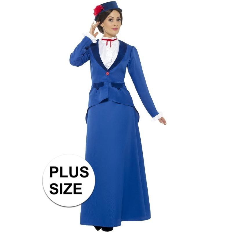 Grote maat blauw nanny kostuum voor dames